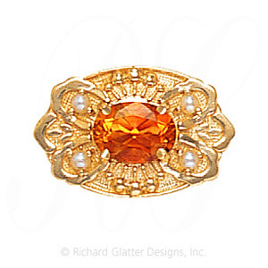 GS487 CIT/PL - 14 Karat Gold Slide with Citrine center and Pearl accents