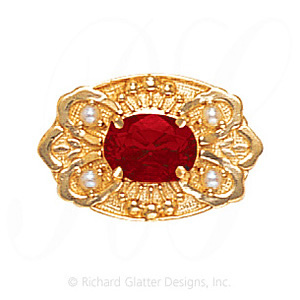 GS487 G/PL - 14 Karat Gold Slide with Garnet center and Pearl accents