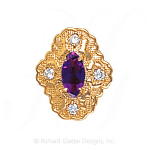 GS490 AMY/D - 14 Karat Gold Slide with Amethyst center and Diamond accents
