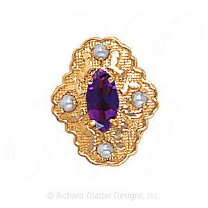 GS490 AMY/PL - 14 Karat Gold Slide with Amethyst center and Pearl accents
