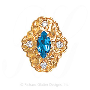 GS490 BT/D - 14 Karat Gold Slide with Blue Topaz center and Diamond accents