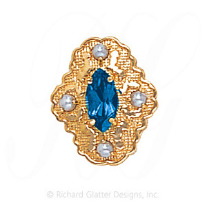 GS490 BT/PL - 14 Karat Gold Slide with Blue Topaz center and Pearl accents