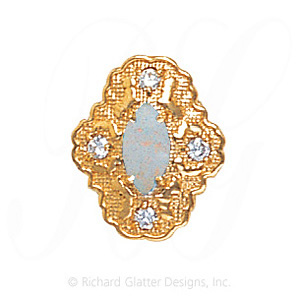 GS490 OP/D - 14 Karat Gold Slide with Opal center and Diamond accents