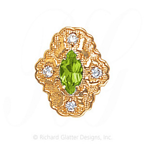 GS490 PD/D - 14 Karat Gold Slide with Peridot center and Diamond accents