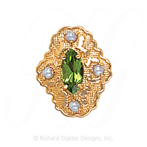 GS490 PD/PL - 14 Karat Gold Slide with Peridot center and Pearl accents