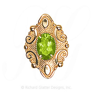GS506 PD - 14 Karat Gold Peridot Slide