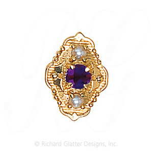 GS511 AMY/PL - 14 Karat Gold Slide with Amethyst center and Pearl accents
