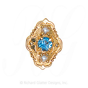 GS511 BT/PL - 14 Karat Gold Slide with Blue Topaz center and Pearl accents