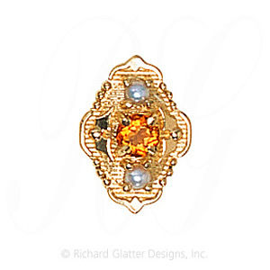 GS511 CIT/PL - 14 Karat Gold Slide with Citrine center and Pearl accents