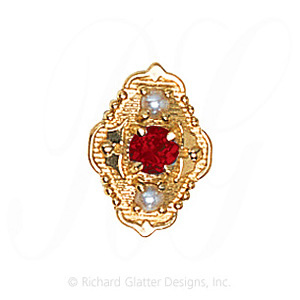 GS511 G/PL - 14 Karat Gold Slide with Garnet center and Pearl accents