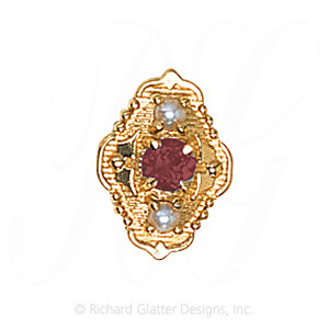 GS511 PT/PL - 14 Karat Gold Slide with Pink Tourmaline center and Pearl accents