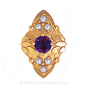 GS519 AMY/PL - 14 Karat Gold Slide with Amethyst center and Pearl accents