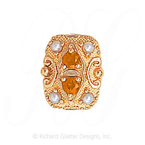 GS525 CIT/PL - 14 Karat Gold Slide with Citrine center and Pearl accents
