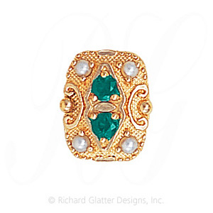 GS525 E/PL - 14 Karat Gold Slide with Emerald center and Pearl accents