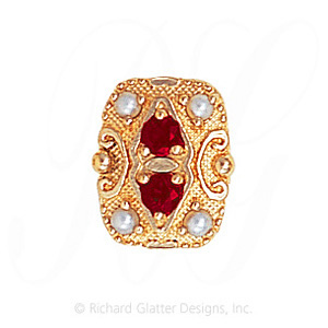 GS525 G/PL - 14 Karat Gold Slide with Garnet center and Pearl accents