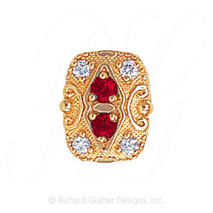 GS525 R/D - 14 Karat Gold Slide with Ruby center and Diamond accents