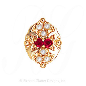 GS528 R/PL - 14 Karat Gold Slide with Ruby center and Pearl accents