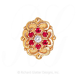 GS532 D/R - 14 Karat Gold Slide with Diamond center and Ruby accents
