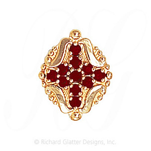 GS533 G - 14 Karat Gold Garnet Slide