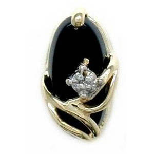 N315 14K ONYX 1 DIAMOND SLIDE