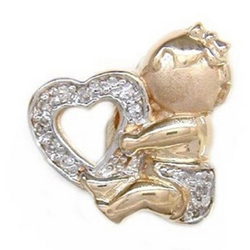 Y2404 14K BABY HOLDING HEART SLIDE WITH DIAMONDS