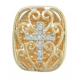 Y2410 14K FILIGREE SLIDE WITH CROSS