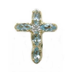 A1595 14K AQUAMARINE DIAMOND CROSS SLIDE