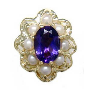 A1605 14K AMETHYST CENTER & PEARL SLIDE