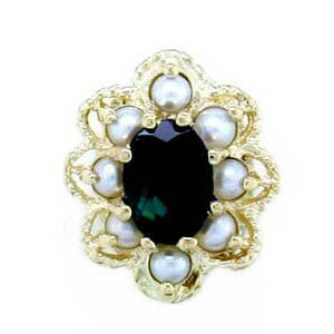 A1605 14K BLUE GREEN TOURMALINE & PEARL SLIDE