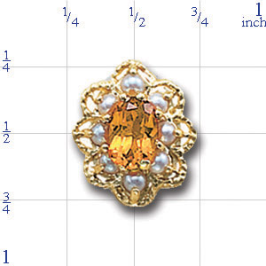 A1605 14K CITRINE CENTER & PEARL SLIDE