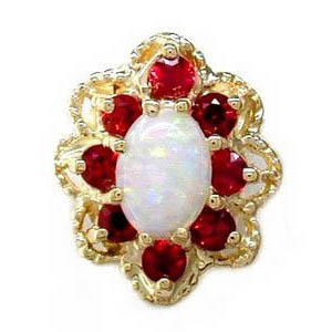 A1605 14K OPAL ROUND RED SAPPHIRE SLIDE