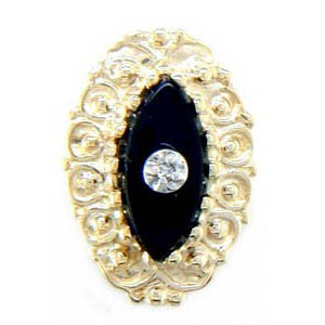 A1609 14K MARQUISE ONYX DIAMOND FILIGREE SLIDE