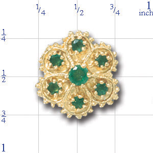 A1611 14K 7EMERALD FLOWER SLIDE
