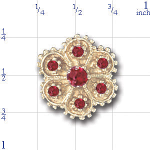 A1611 14K 7 RUBY FLOWER SLIDE