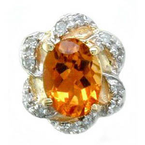 A1615 14K CITRINE 12 DIAMOND SLIDE