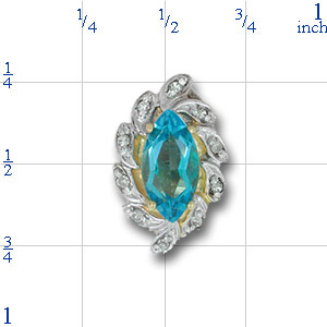 A1838 14K MARQUISE BLUE TOPAZ 7 DIAMOND SLIDE