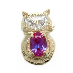 A2293 14K CAT SLIDE WITH CREATED ALEXANDRITE & 2 DIAMOND EYES