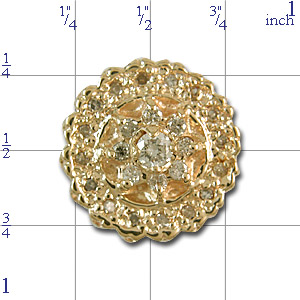 A2425 14K SLIDE WITH 25 DIAMONDS & CENTER FLOWER DESIGN