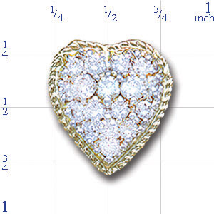 A2581 14K HEART SHAPE SLIDE WITH 17 ROUND DIAMOND