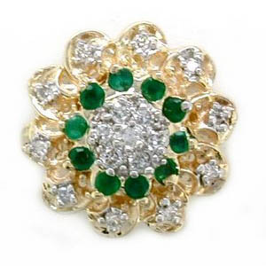 A2656 14K FLOWER SLIDE WITH 17 DIAMONDS & 10EMERALD