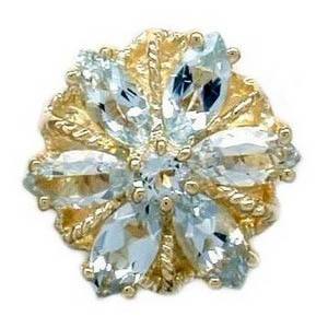 A3002 14K SLIDE WITH AQUAMARINE IN A FLOWER DESIGN