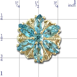 A3002 14K SLIDE WITH BLUE TOPAZ MARQUISE IN A FLOWER DESIGN