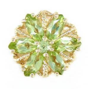 A3002 14K SLIDE WITH MARQUISE PERIDOT IN A FLOWER DESIGN