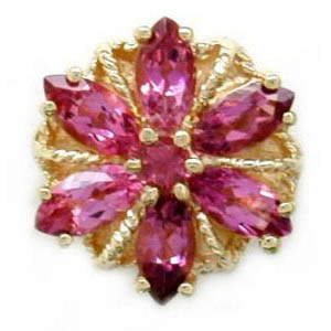 A3002 14K SLIDE WITH MARQUISE PINK TOURMALINE IN A FLOWER DESIGN