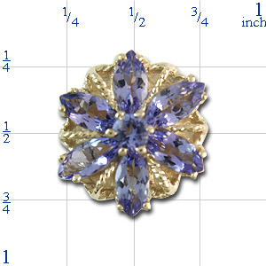A3002 14K SLIDE WITH TANZANITE MARQUISE IN A FLOWER DESIGN