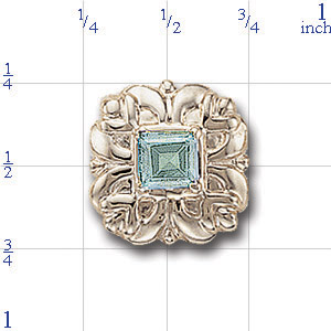 A3003 14K SLIDE WITH AQUAMARINE IN CENTER OF FLOWER DESIGN 1/2CT
