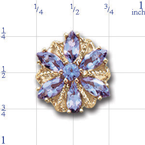 A3003 14K SLIDE WITH TANZANITE IN CENTER OF FLOWER DESIGN 1/2CT