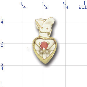 A3417 14K BOYS HEAD SLIDE WITH BIRTHSTONE IN HEART