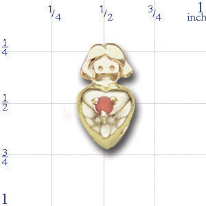 A3418 14K GIRLS HEAD SLIDE WITH DIAMOND & HEART