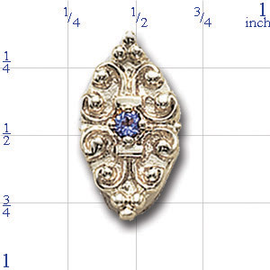 A3537 14K SLIDE WITH SMALL ROUND TANZANITE CENTER